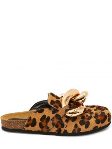Animal print Chain Loafer Mules