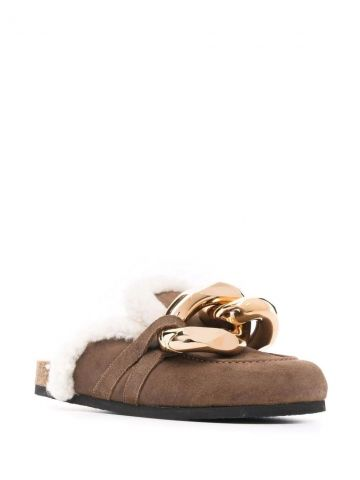 Brown Chain mules