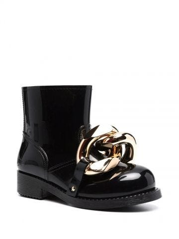 Black Chain ankle boots