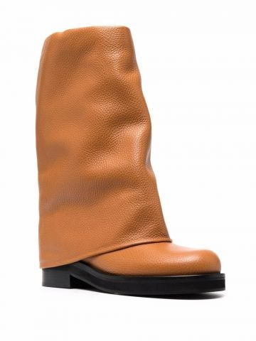 Brown foldover leather boots