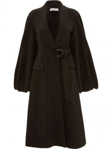 Brown midi coat with puff sleeves