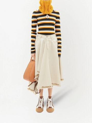 White logo-print asymmetric denim skirt