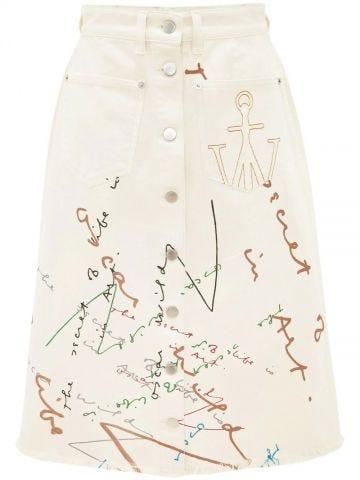 Oscar Wilde Capsule white denim midi skirt