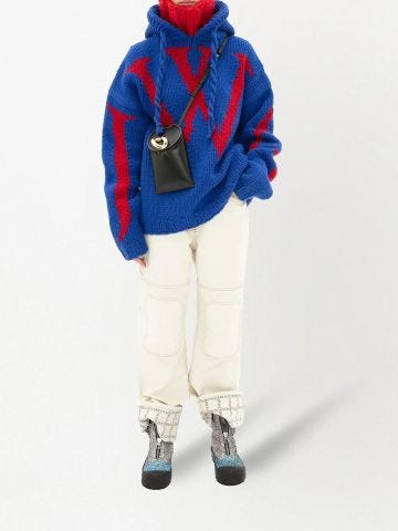 White logo grid turn up workwear jeans
