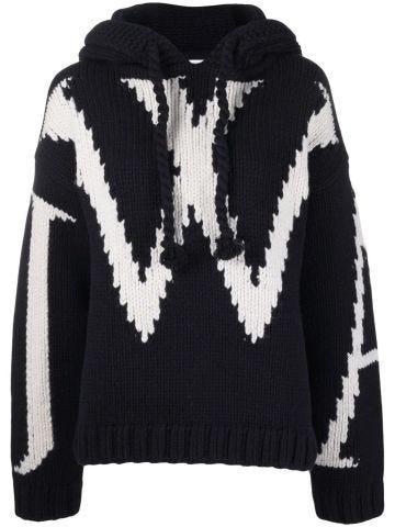 Navy blue JWA chunky hooded sweater