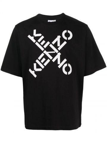 Black crew neck cross logo t-shirt