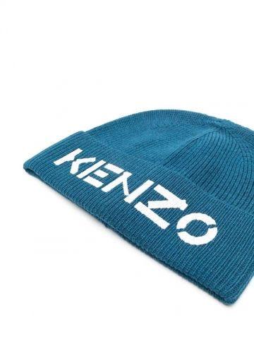 Blue Logo print beanie