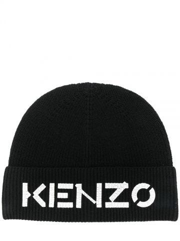 Black logo print beanie