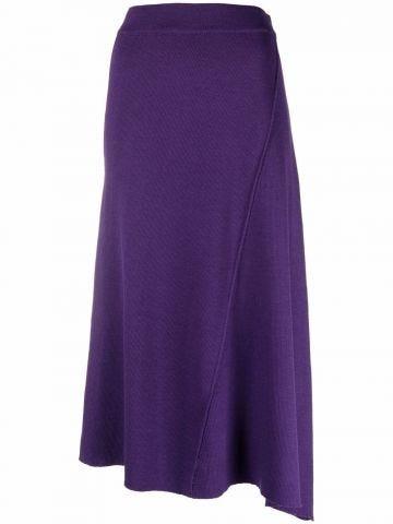 Purple asymmetrical midi skirt