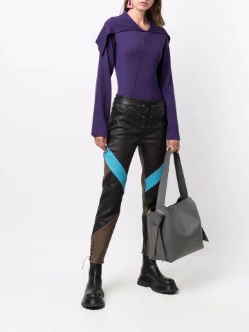 Purple foldover collar sweater