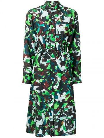 Multicolored print shirtdress