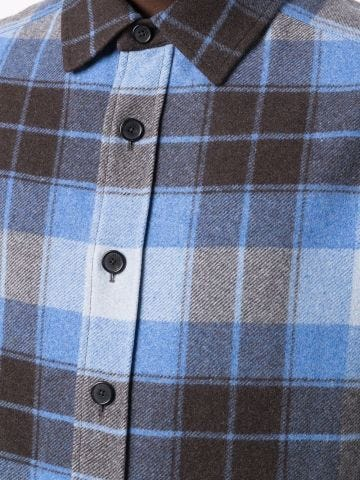 Blue wool check shirt