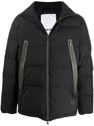 Black quilted down jacket with contrasting zip fastening