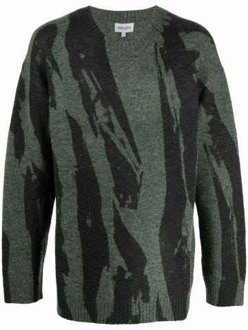 Green Pleat Camo sweater