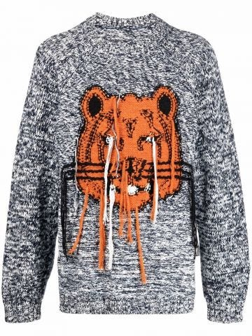 Grey intarsia knit tiger sweater