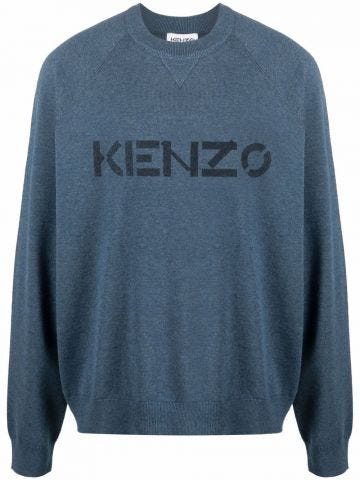 Blue crewneck sweatshirt with logo