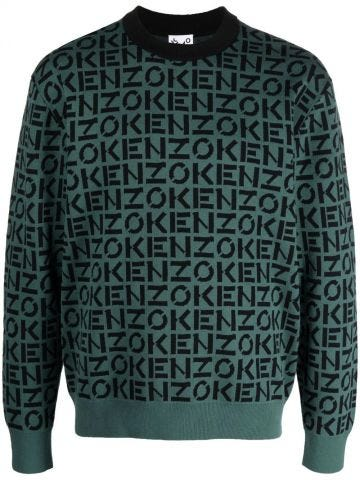Maglione con monogramma KENZO Sport verde