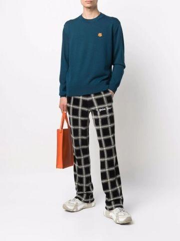 Maglione in lana merino blu Tiger Crest