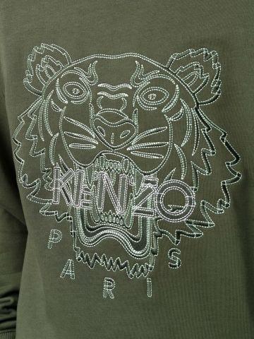 Green crewneck sweatshirt with Tiger embroidery