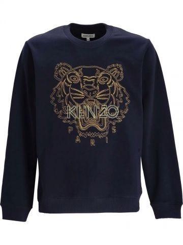Blue crewneck sweatshirt with embroidered tiger