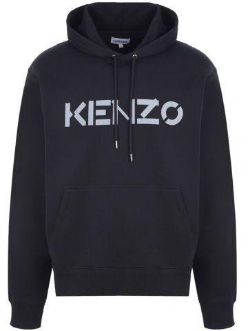 Black logo print organic cotton hooded sweatshirt