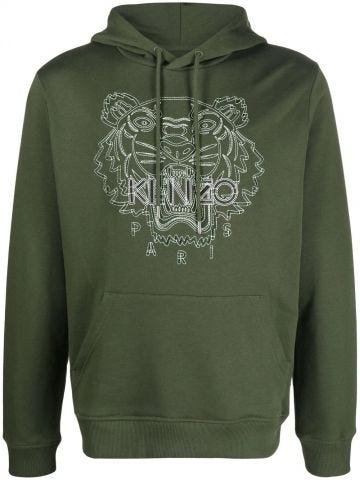 Green hoodie with embroidered tiger