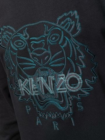 Black hooded sweatshirt with Tiger embroidery
