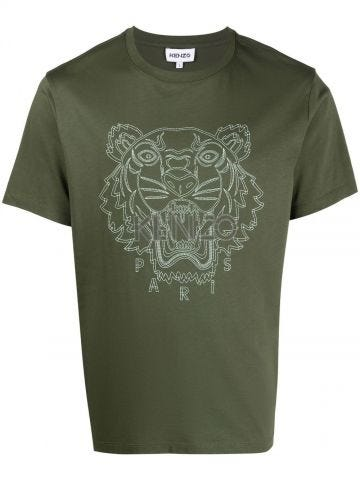 Green crew-neck T-shirt with Tiger embroidery