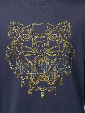 Blue crew-neck T-shirt with Tiger embroidery