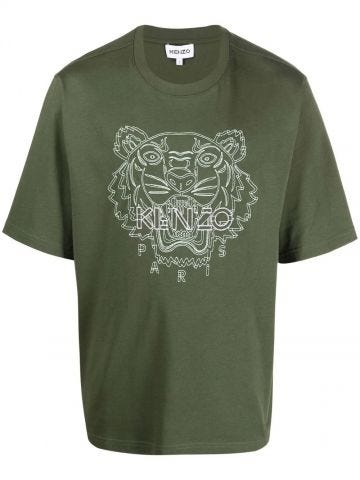 Green oversized T-shirt with Tiger embroidery