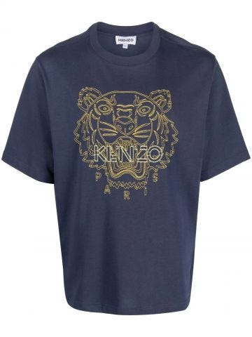 Blue oversized T-shirt with Tiger embroidery
