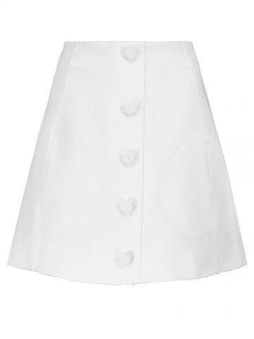 High-waisted white mini skirt