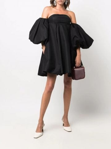 Black flared two-in-one dress