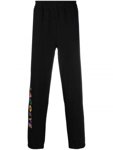 Black multicolored print track pants