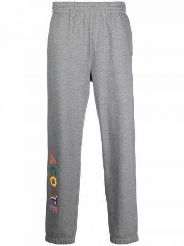 Grey multicolored print track pants