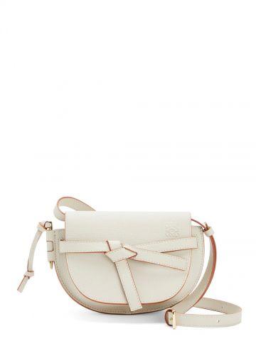 Mini Gate dual bag in pebble grain white calfskin