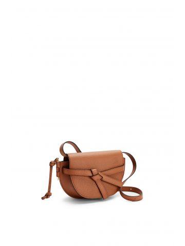 Brown mini Gate dual bag in pebble grain calfskin