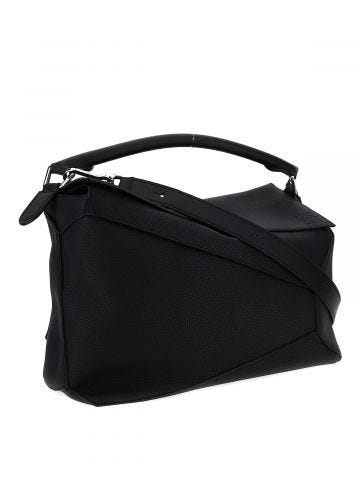 Large Puzzle Edge bag in black grained calfskin