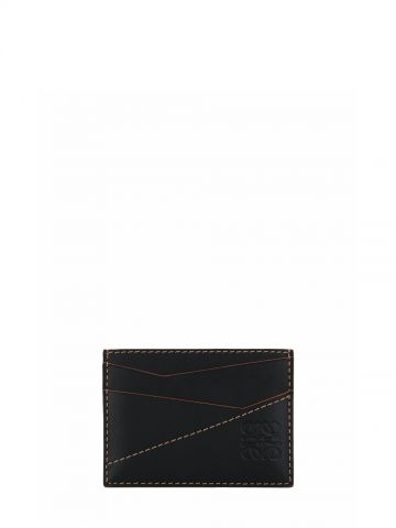 Puzzle plain cardholder in classic black calfskin