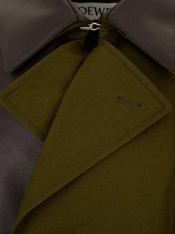 Trench doppiopetto in cotone verde militare