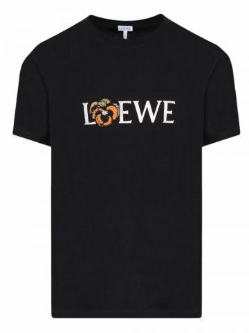 Pansy LOEWE T-shirt in black cotton