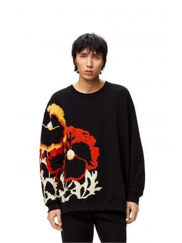 Pansies embroidered sweatshirt in black cotton