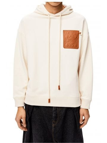 White Anagram patch hoodie in cotton