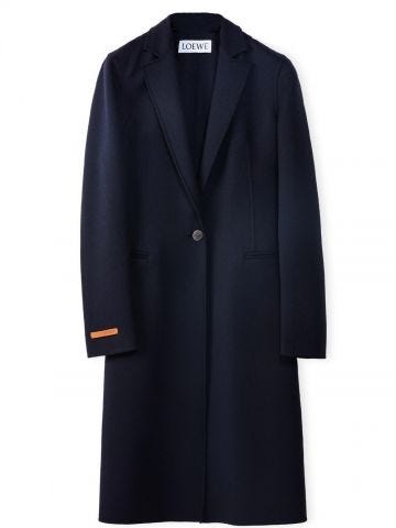 Blue Single breasted coat in wool and cashmere