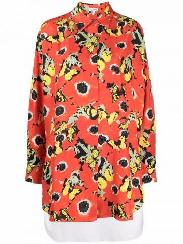 Pansies oversize shirt in silk and cotton