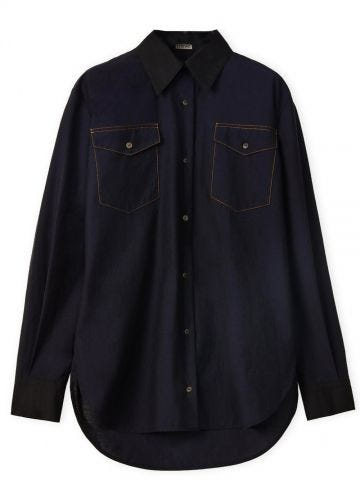 Military shirt in cotton blue