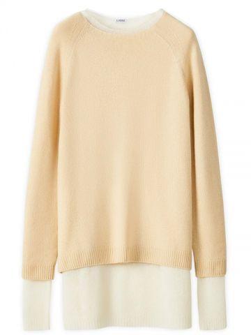 Beige crew neck sweater in cashmere