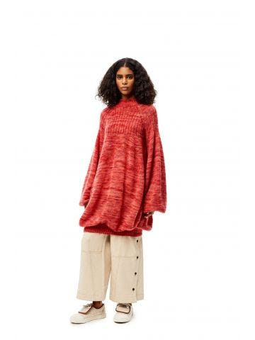 Red oversize balloon sweater dress in mohair