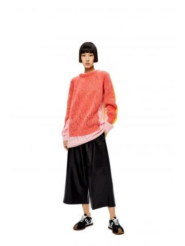 Orange trompe l'oeil sweater in mohair