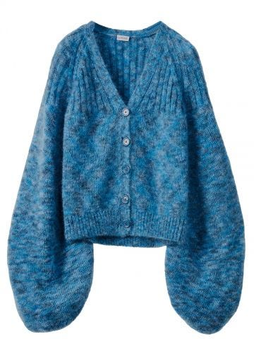 Blue balloon sleeve cardigan in mohair
